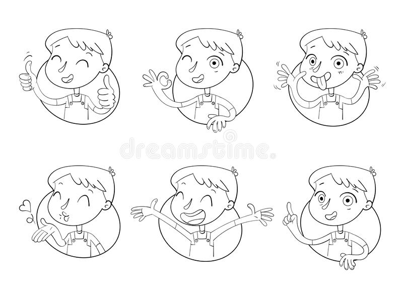 Boy in different situations. Emotions on face. Funny grimace, shows tongue, thumbs up, air kiss, sign of okay, hands up. Funny cartoon character. Vector vector illustration