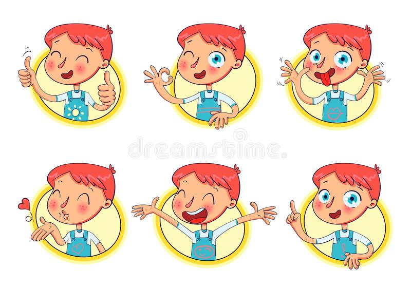 Boy in different situations. Funny grimace. Boy in different situations. Emotions on face. Funny grimace, shows tongue, thumbs up, air kiss, sign of okay, hands vector illustration