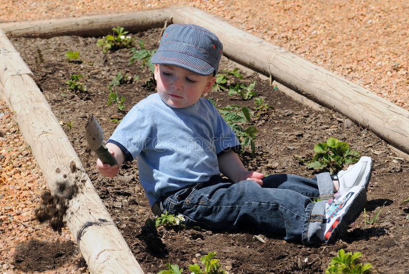 Boy digging in dirt stock images