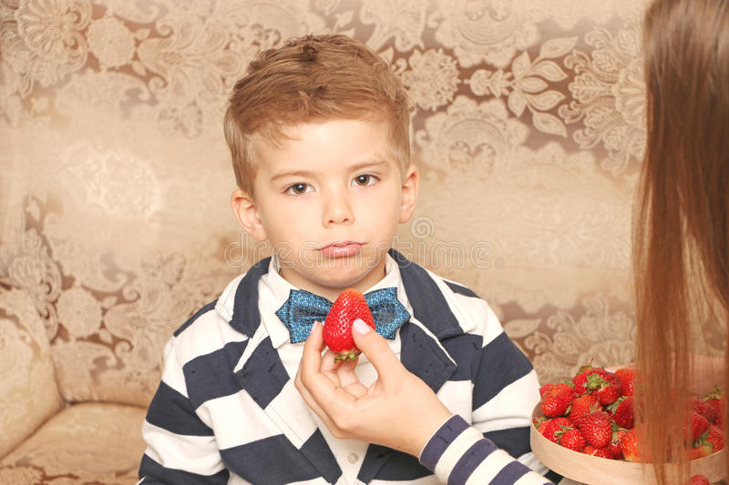 Boy with dissatisfied face royalty free stock image