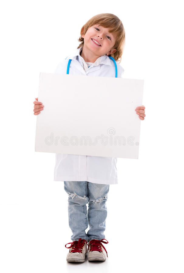 Boy doctor holding a banner