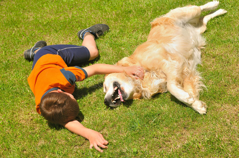 Boy and dog. Boy lying with dog on green grass in park royalty free stock photography
