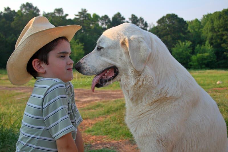 Boy & Dog Stock Photography