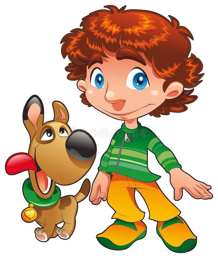 Boy with Dog friend royalty free illustration