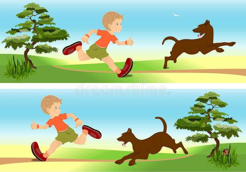 Boy and dog playing, cdr vector stock illustration