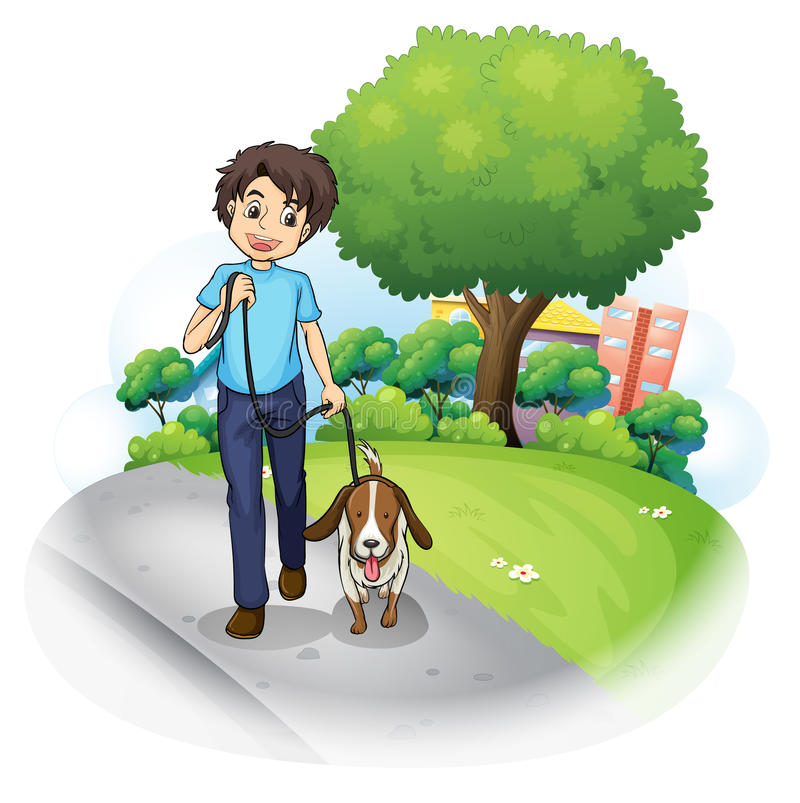 Download A Boy With A Dog Walking Along The Street Stock Vector - Image: 33689652