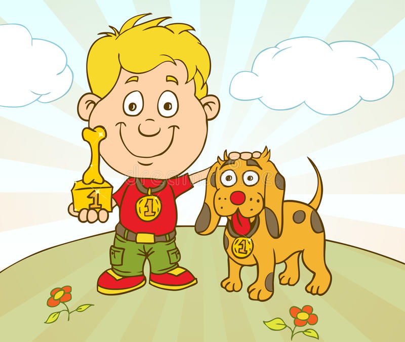 Boy and dog win a prize vector illustration