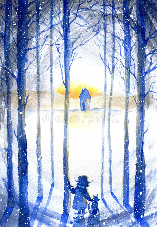 Boy with dog in winter forest.Landscape.Snowy pine silhouette tree with sun light. Watercolor hand drawn illustration vector illustration