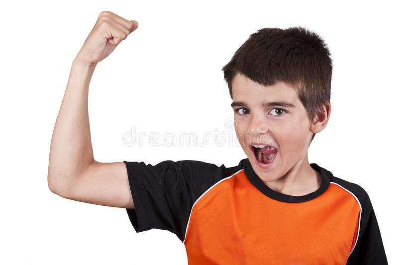 Boy doing gymnastics. With weights on white background royalty free stock images