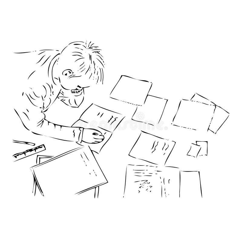 Boy doing his homework. Handmade illustration of a boy doing his homework, black and white version. Useful also for educational or coloring books for kids. You royalty free illustration