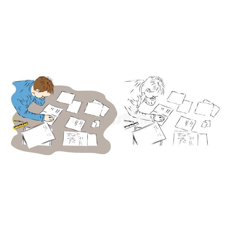 Download Boy doing his homework stock illustration. Image of educate - 22800682