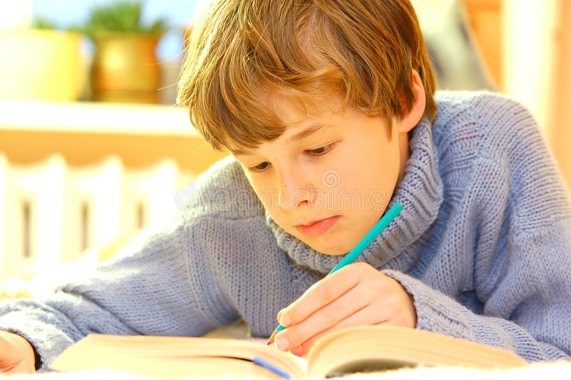 Download Boy doing homework stock image. Image of paper, play, book - 2467947