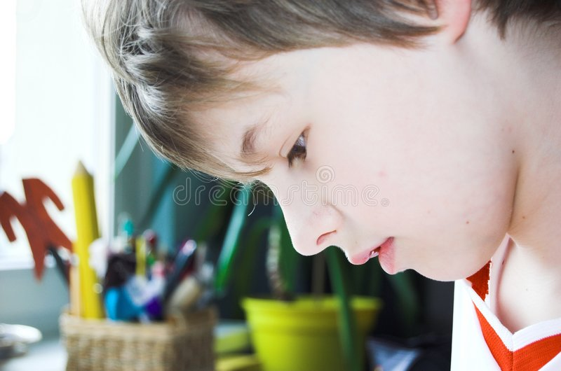 Download Boy doing homework stock photo. Image of hobby, draw, homework - 701852