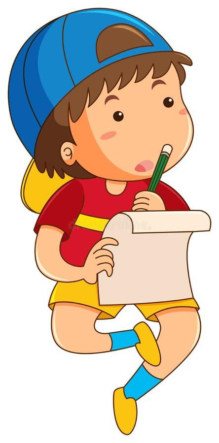 Boy doing homework alone. Illustration royalty free illustration