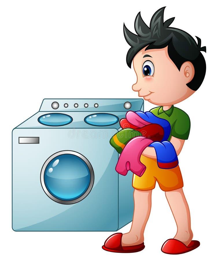 Boy doing laundry with washing machine stock illustration