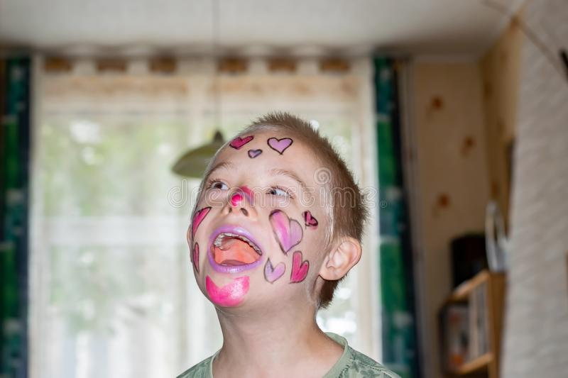 Boy with down syndrome. Boy with down syndrome, prepared and painted for home theater royalty free stock photos