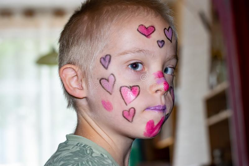 Boy with down syndrome. Boy with down syndrome, prepared and painted for home theater royalty free stock photography