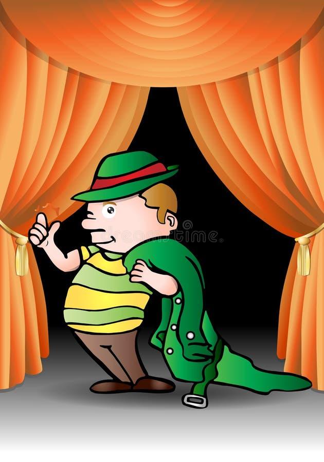 Boy drama. Boy snap finger find solution wear green coat on drama stage background royalty free illustration