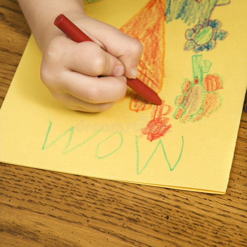 Boy drawing. stock images