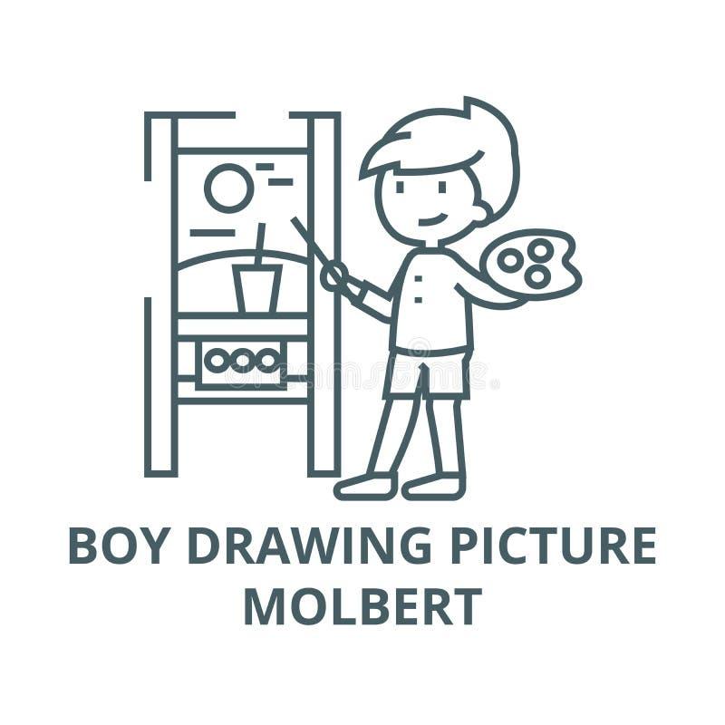 Boy drawing picture,molbert line icon, vector. Boy drawing picture,molbert outline sign, concept symbol, flat. Boy drawing picture,molbert line icon, vector. Boy vector illustration