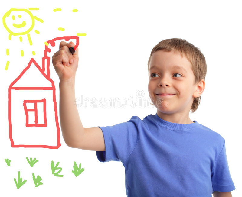Boy draws the house royalty free stock photography