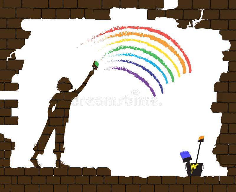 Boy draws a rainbow on the old broken brick wall, life after war, new life after disaster idea, graffiti, royalty free illustration