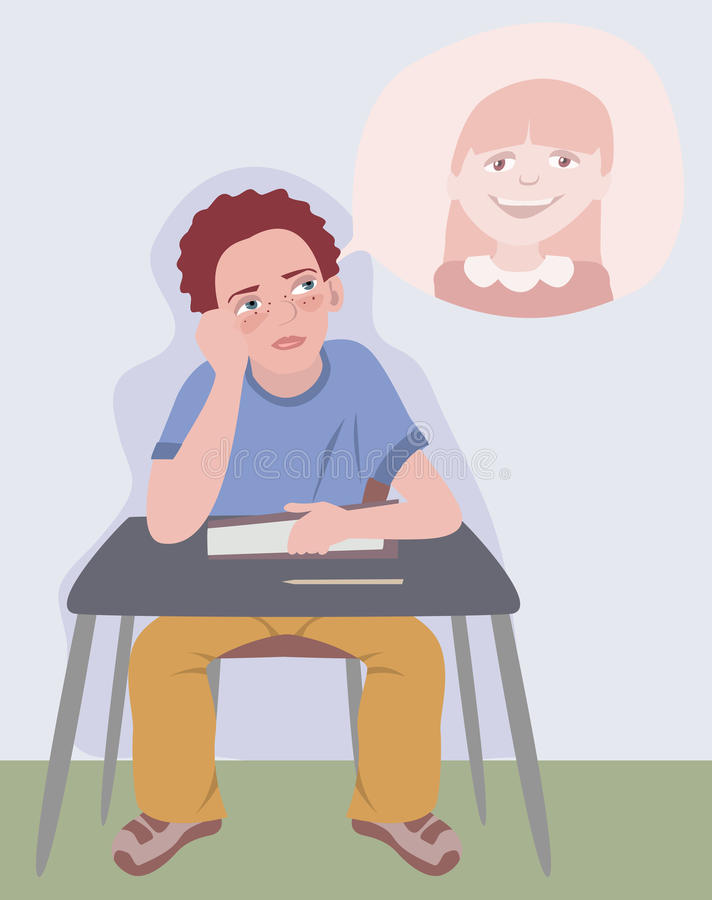 Boy dreaming about girl. At school lesson - funny cartoon illustration vector illustration