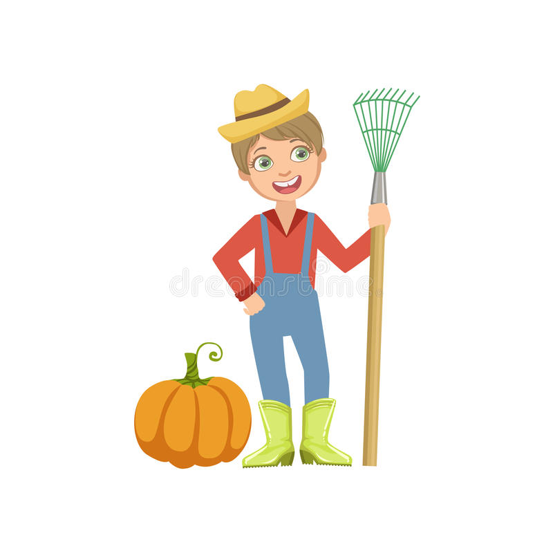 Boy Dressed As Farmer With Pumpkin And Rake. Child Dream Future Profession Cute Colorful Illustration Isolated On White Background vector illustration