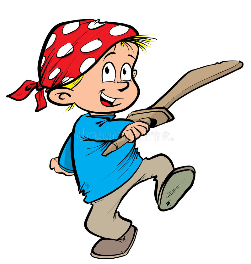 Boy dressed as a pirate. Cartoon illustration of a boy dressed as a pirate wearing a headscarf and holding a wooden sword vector illustration