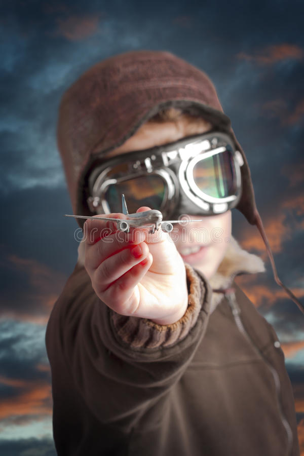 Download Boy Dressed Up In Pilot´s Outfit Stock Image - Image: 15607389