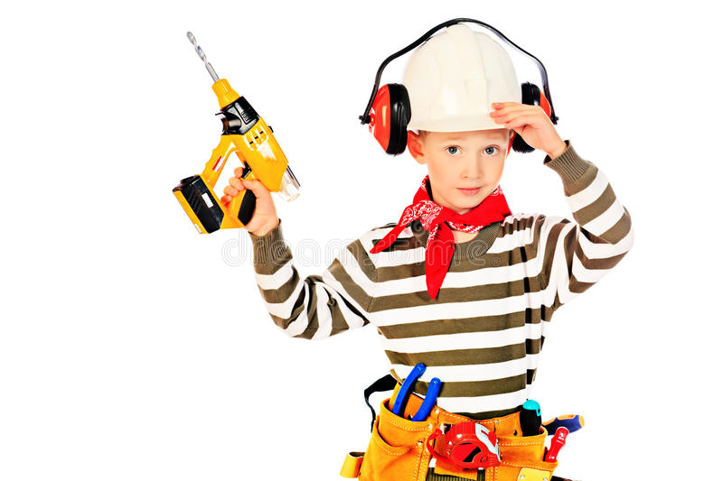 Download Boy with drill stock photo. Image of male, cheerful, instruments - 28590106