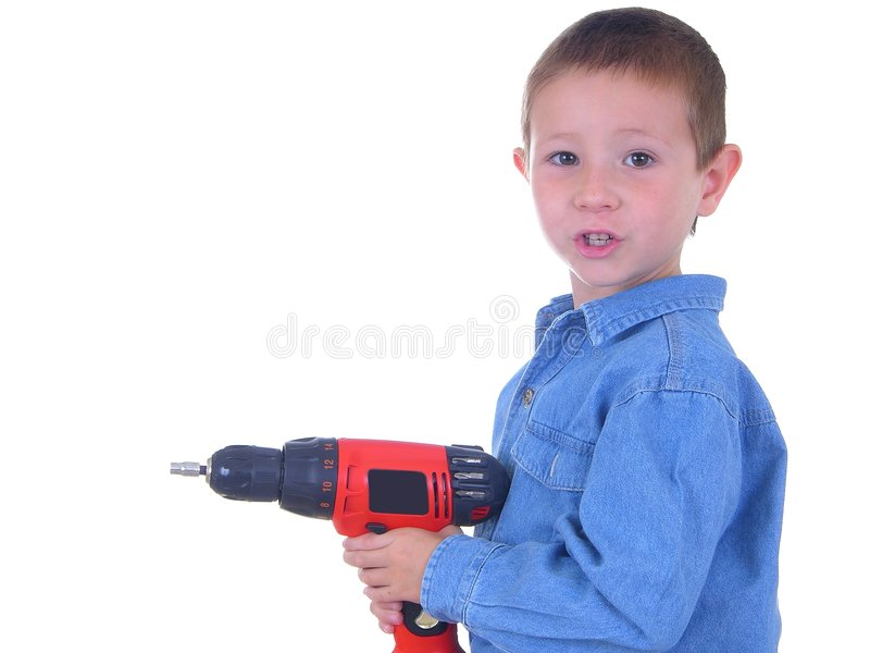 Boy With A Drill 3 stock photography
