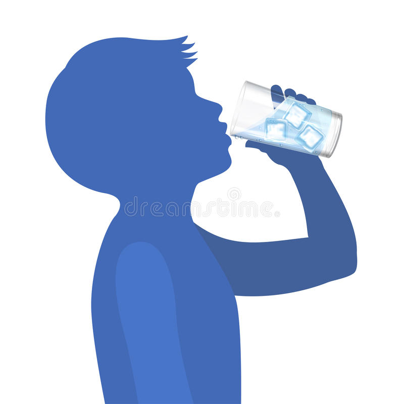 Boy drink water. Concept of healthy lifestyle. Vector stock illustration