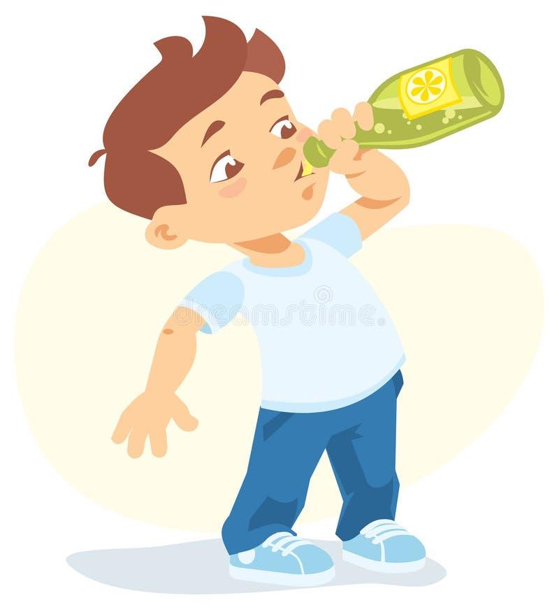 boy drinking soft drink stock illustration. illustration of drink