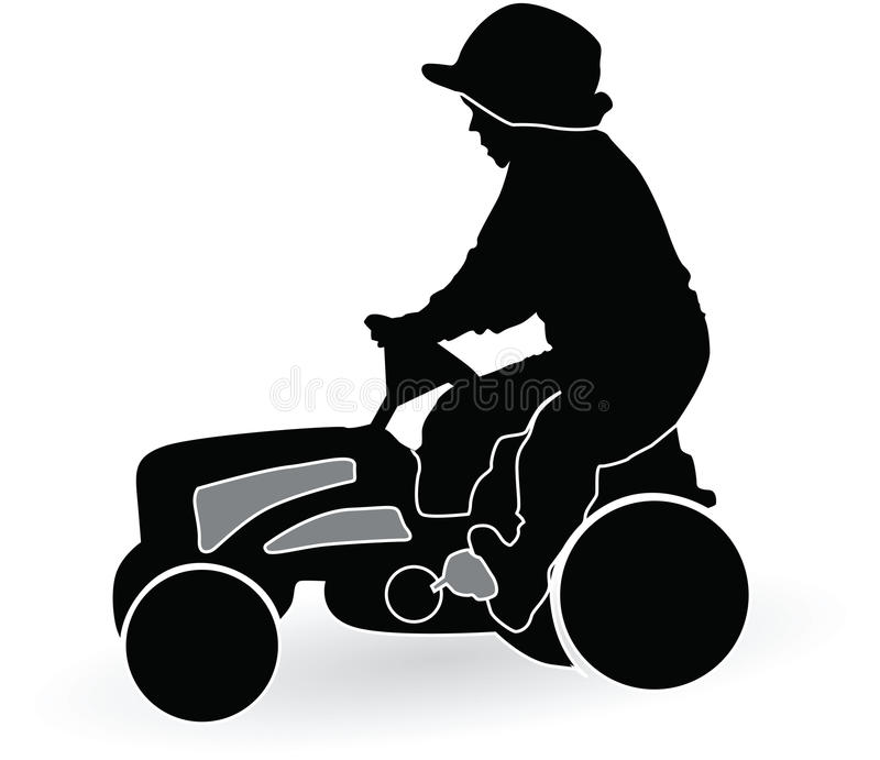 Boy driving a tractor vector illustration