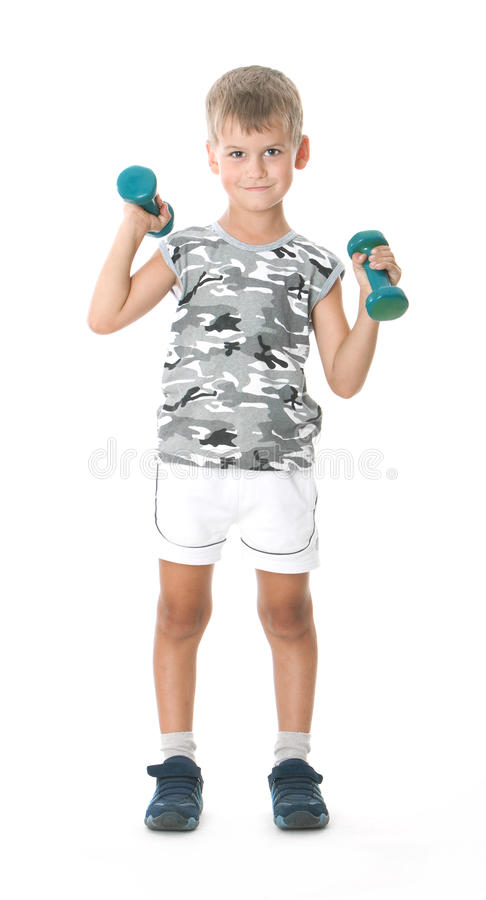 Download Boy with dumbbells stock photo. Image of holding, isolated - 11354884
