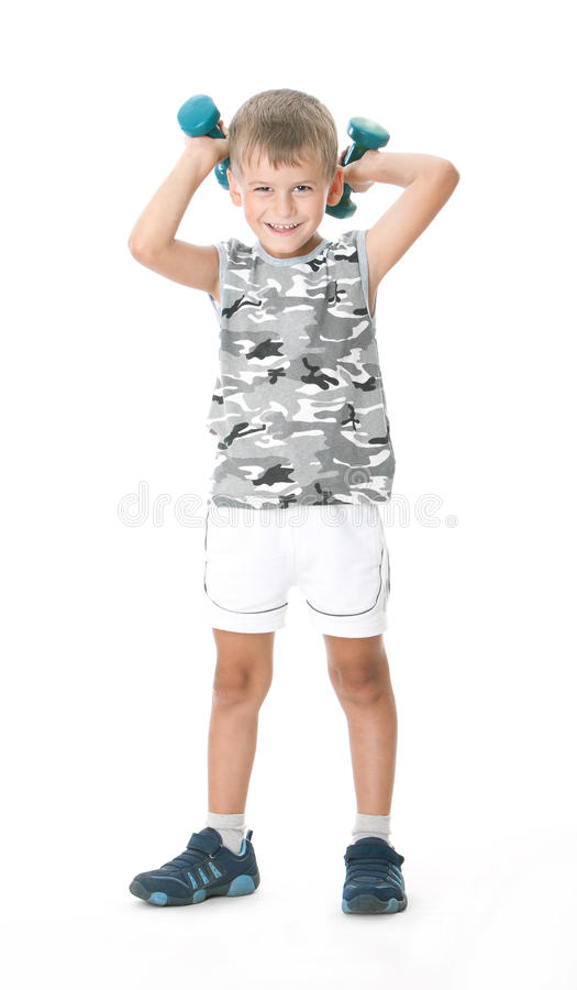 Download Boy with dumbbells stock image. Image of dumbbell, recreational - 11481745