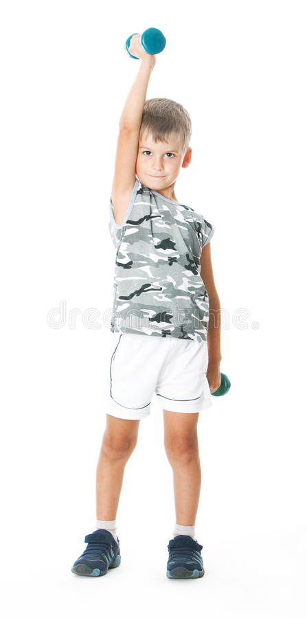 Download Boy with dumbbells stock photo. Image of fitness, child - 11585302