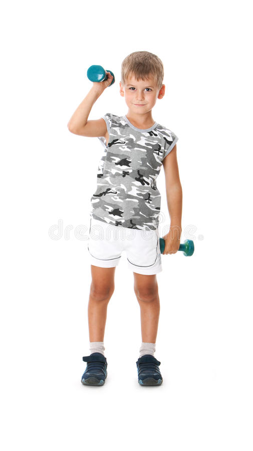 Download Boy with dumbbells stock image. Image of person, health - 13154955
