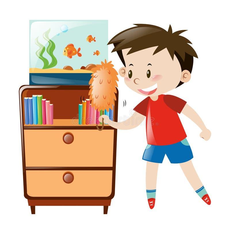 boy dusting shelf and fishtank stock vector illustration books victoria and abdul large print books victoria