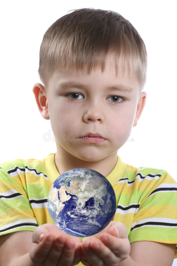 Boy With Earth Stock Photo
