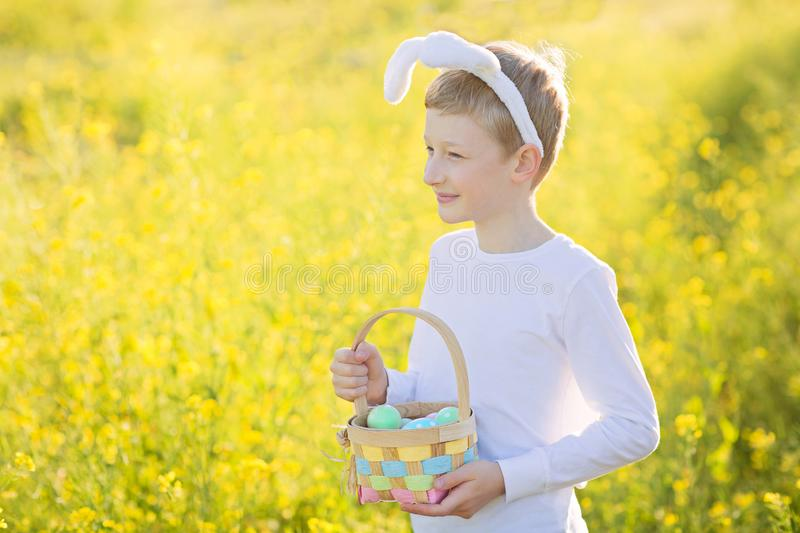 Boy at easter time royalty free stock image