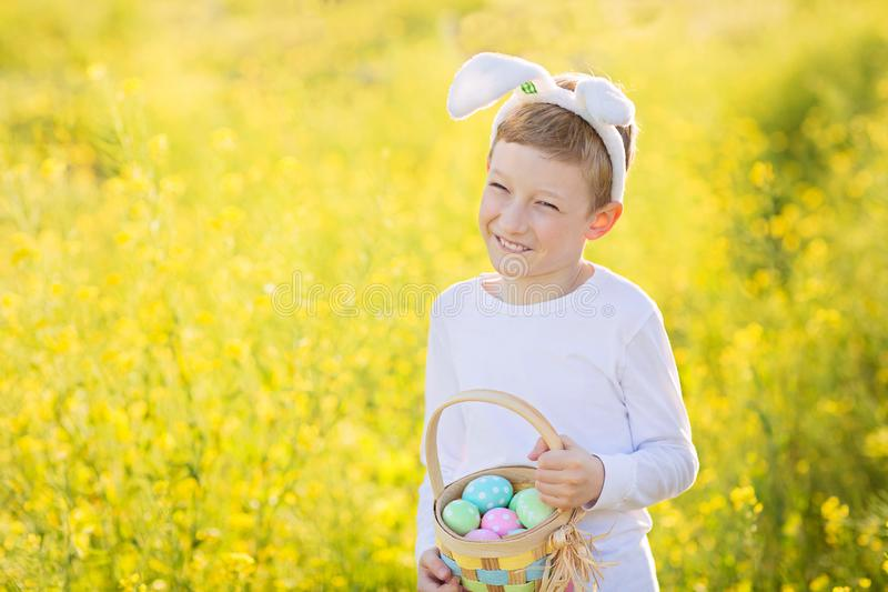 Boy at easter time stock photo