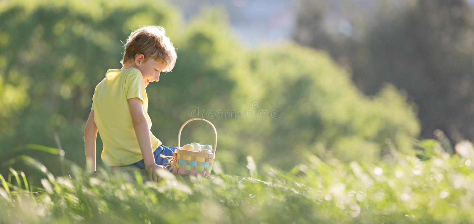 Boy at easter time royalty free stock photo