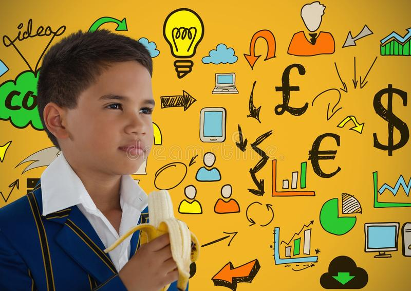 boy eating banana in front of colorful concept ideas stock images