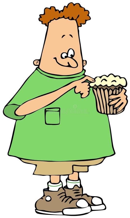 Download Boy eating a cupcake stock illustration. Illustration of illustration - 38894250