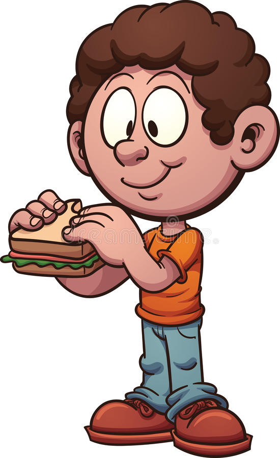 Boy eating a sandwich stock illustration