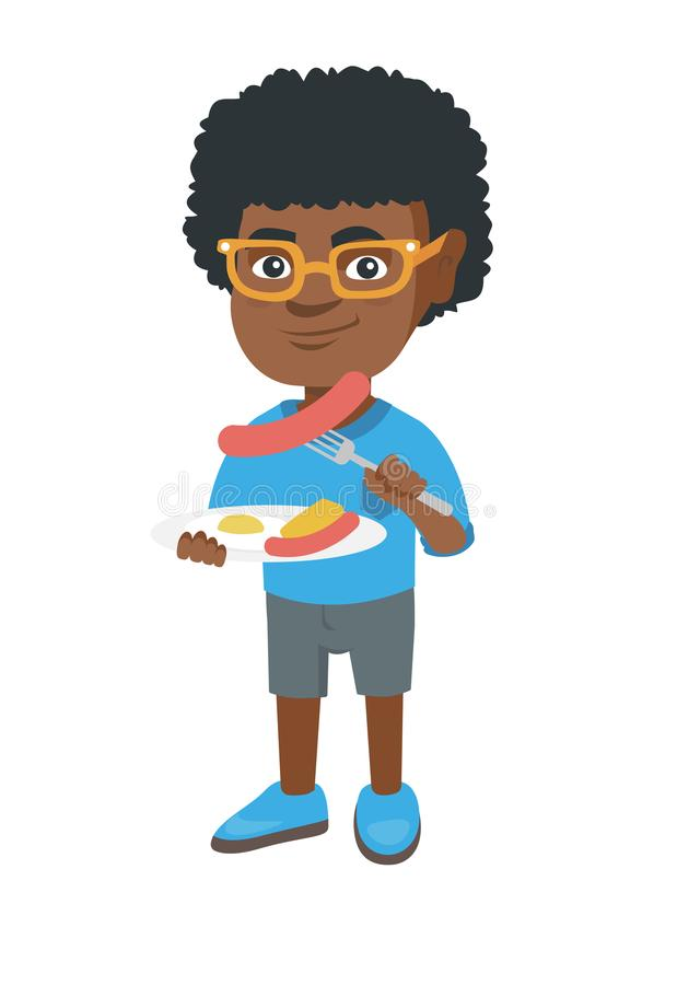 Boy eating sausage and fried egg for breakfast. Little african boy eating sausage and fried egg for breakfast. Young smiling boy holding fork and plate with vector illustration