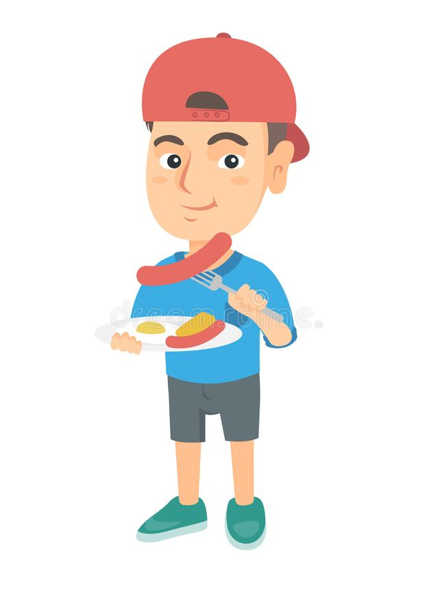 Boy eating sausage and fried egg for breakfast. Little caucasian boy eating sausage and fried egg for breakfast. Young smiling boy holding fork and plate with vector illustration