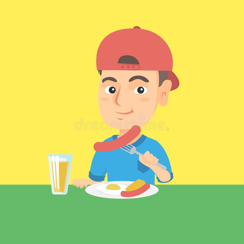 Boy eating sausage and fried egg for breakfast. Little caucasian boy eating sausage and fried egg for breakfast. Boy sitting at the table with plate with stock illustration